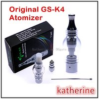 Wholesale Gs Dry Herb - GS K4 GS-K4 Atomizer Big Vapor Clearomizer Dry Herb Wax Detachable Atomizer Replaceable Coil Electronic Cigarette Pyrex Glass Tank Instock