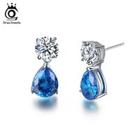Wholesale 2ct Earrings - ORSA 2017 Unique Silver Color Earrings Stud with 2ct AAA Austria Stone Dangling Charm Blue Water Drop CZ for Women OE152