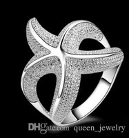 Wholesale Sterling Silver 925 Sea - Wholesale-Hot Sale!!Free Shipping 925 Silver Ring Fashion Sterling Silver Jewelry,sea star hurge Ring 538