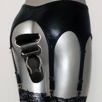 Wholesale Garter Lingerie Clubwear - Wholesale-New 6 Strap clubwear pu lingerie Womens black sexy metallic Broadside faux leather latex Garter Belt Suspender set for stockings