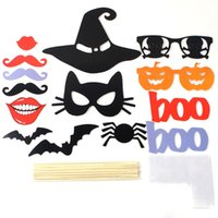 Wholesale Photobooth Props Christmas - 14pcs set Halloween Pumpkin Lips Photo Booth Props Decorations Party Supplies Mask Mustache for Fun Favors Photobooth Photocall