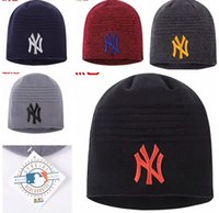 Wholesale Printing Ny - Men Brand NY beanie Fleece Knitted Hat NY Letters Embroidered Beanie For Women Fashion Outdoor Caps Skiing Hip Hop Winter bonnet Cap B332