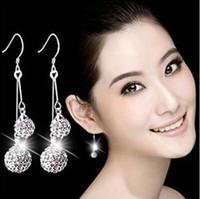 Wholesale Double Drop Earrings - 2016 Korean 925 sterling silver crystal drop earrings double shambhala rhinestone ball earring woman fashion jewelry