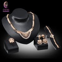 Wholesale Costume Jewellery Bracelets Crystal - Fashion 4Pcs Costume Jewellery Sets Women Wedding 18K Gold Plated African Wedding Austrian Crystal Necklace Jewelry Set
