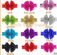 cintas para la cabeza metálicas anudadas al por mayor-30% de descuento Nuevo 2015 Metálico Desordenado Arco Floppy Big Bow Turbante Diadema para el Pelo Recién Nacido Bebé Top Nudo Diadema 10 unids /