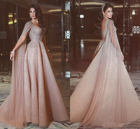 Wholesale Chiffon Floor Length Cape - 2018 Elegant Dubai Beading Long Evening Dresses With Cape Tulle Floor Length Arabic Women Formal Prom Gown Custom Made Vestido Festa