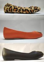 Wholesale Purple Dance Shoes - Enamel Metal Buckle Flat Heel Ballet Flats Candy Color Slip On Dance Flats Women Sheepskin Genuine Leather Shoes Sz 35-41