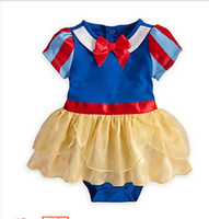 Wholesale Skirt Band Baby - Wholesale-retail snow white princess baby girl rompers hair band 2 pcs set costumes skirt performance party dress infant short sleeve