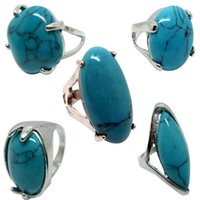 Wholesale turquoise direct - Brand New Wholesale 50pcs Lot Mixed - Brand New Turquoise Gemstone Alloy Ring Direct Selling, Blue Red Black TIBETAN Tone Pebble