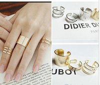 Wholesale 3pcs Fashion Ring Sets - 3Pcs Set Fashion rings Top Of Finger Over The Midi Tip Finger Above The Knuckle Open Ring 04NH