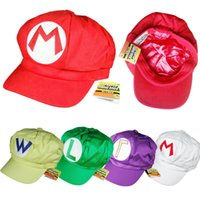 Wholesale Leaders Hat - Super Mario 50 pcs. 5 colors Mario Luigi hat Super Mario Bros Cosplay hats Adjustable buckle Cap Leader sales