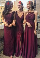 Wholesale Chifon Dress Long - Burgundy Coutry Bridesmaid Dresses Long A-line Chifon Lace V-Neck Halter Side Split Ruched Floor length Maid Of Honor Dresses Plus Size