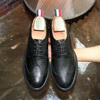 Wholesale Shoe Welt - Brand Original High Quality Thom Shoes Man Split Welt Sole Wingtip Brogue Shoes Man Genuine Leather Shoes