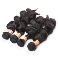 Wholesale malaysian curly hair weave style resale online - Brazilian Hair Extensions Loose Curly Style Hair Weft Natural Color Real Brazilian Peruvian Indian Malaysian Remy Human Hair Weave A