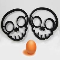 eşsiz kafatası halkaları toptan satış-Mutfak pişirme aracı benzersiz tasarım Silikon Kauçuk yumurta kalıp yapışmaz Kafatası Yumurta Kızarmış Kızartma Kalıp Gözleme Yumurta Halka Şekillendirici Kalıp TT65