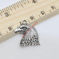 kuşlar el yapımı toptan satış-Antik Gümüş Ton Kartal Kuşlar Charms Kolye Takı Yapımı için DIY El Yapımı Zanaat 22x19mm 20 adet / grup D312 Takı yapımı DIY