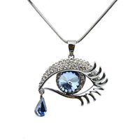 Wholesale Long Chained Gemstone Necklace - Eye Shape Blue Color Imitation Gemstone Long Chain Drop Pendant Necklace New Arrival For Women Colares Femininos