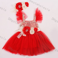 Wholesale Silk Sequin Dresses Wholesale - Christmas 2016 Kids Girls Chiffon Sequins Party Dresses Baby Girl Ruffle TuTu Princess Dress With Headband Waistband Kids Red Dress