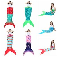 Wholesale double tail - Kids Mermaid Tail Blankets 56*135cm Mermaid Sleepping Bags Baby Children Double Layer Mermaid Fish Swaddle 13 Styles 50pcs OOA3399