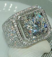 anillos de plata de ley para niños al por mayor-Anillos de diamantes de piedra completa para los dedos Anillos de bodas de plata esterlina de los niños micro Pave Handsome para el tamaño 8-13 de los hombres