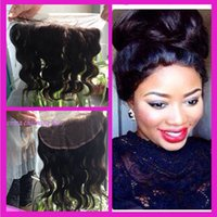 Wholesale Body Wave Lace Frontals - 13x4 Lace Frontal Closures 100% Unprocessed Brazilian Body Wave Virgin Human Hair Cheap Lace Frontals Free Part With Bleached Knots FreeShip