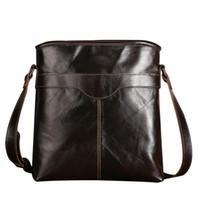 Wholesale mini briefcase men - Wholesale- New Arrival Genuine Leather Casual Travel Bag Male 100% Cowhide Single Shoulder Bags Men Business Crossbody Bag Briefcase CH098