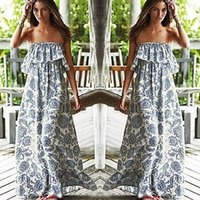 Wholesale Uk Woman Dresses - Wholesale-Sexy Women Party Floral Beach Dress Boho Off-shoulder Maxi Long Dress UK