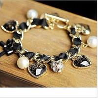 pulseiras de pérola bowknot venda por atacado-Novo charme pulseira de cristal pérola bowknot pingente pulseiras pulseiras para as mulheres