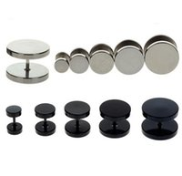 Gratuit 2pc Livraison Noir Sliver Acier inoxydable Plugs Faux Cheater Ear Jauge Body Jewelry Pierceing Hot Sale 6-14mm