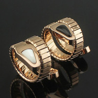 Wholesale Grain Agate - Titanium steel jewelry wholesale snake Black and white agate Spring grain ring Punk lovers ring wedding rings for men and women