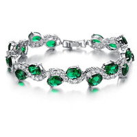 Wholesale Diamond Hand Bracelets - New! Plated White Gold Hand Chain Green Crystal Diamond Bangle Fashion Bracelet For Girls Women Fashion DIY Jwewlry