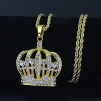 Wholesale hip hop crown pendants - Hip Hop King Crown Pendants Necklace Iced Out Rhinestone women Necklace 24inch Stainless Steel Rope Chain N579