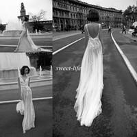 Wholesale chic sheath wedding dresses for sale - Chic Backless Wedding Dresses Sheath Deep V Neck Sash Vintage Lace Tulle Liz Martinez Sexy Bohemia Summer Beach Wedding Bridal Gowns