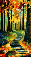 painted stairways - oil Painting Leonid Afremov art for sale stairway in the old park Canvas Hand painted High quality