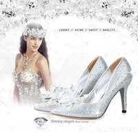 Wholesale Shoes Big Rhinestones - Cinderella 2016 New brand High heels 9CM-7cm Wedding Shoes shiny crystal shoes pointed Women shoes rhinestone Bridal shoes big size :US4-US8