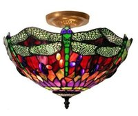 Wholesale Ceiling Fan Shade - Tiffany Style 2-Light Fan Kit Ceiling Mount Lamp with 12-inch Dragonfly Red Glass Shade,Free Shipping