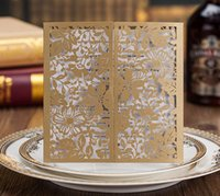Gold Hollow Folded Wedding Invitations Cards Hot Selling Laser Cutting Wholesale Cartão de convite para imprimir personalizado