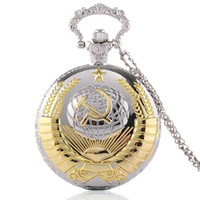 Wholesale Clock Hammer - New Soviet USSR Emblem Quartz Pocket Watch Men Women Vintage Dome Pendant Necklace Clock Earth Sickle Hammer Communism design