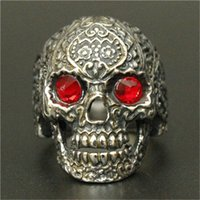Wholesale Ruby Boy - 1pc New Arrival Ruby Eye Ghost Skull Ring 316L Stainless Steel Man Boy Fashion Hot Punk Red Skull Ring