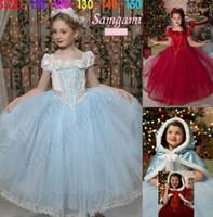 Wholesale Shawls Dress 2pcs - Frozen Elsa Anna Girls Outfits Lace Long Dress + Shawl Hat 2Pcs Set Kids Childs Party Clothes Clothing DressChildren Suits Blue Red J5092