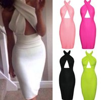 Wholesale Red Cut Out Bodycon Dress - Summer Dress 2017 Spaghetti Strap Cross Front Halter Bodycon Bandage Dress Backless Cut Out Dress Party Dresses Vestidos DK1620WJ