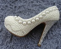 Wholesale Cheap Beige Pumps - Cheap 2016 Luxury Pearl Rhinestones Wedding Shoes Pearls Formal Evening Prom Bridal Shoes 11 13 14 CM High Heels 3 CM Platform Women Shoes