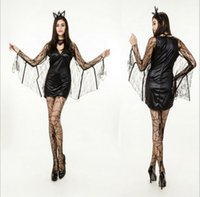 Wholesale adult sexy outfits - Black Adult Bat Women Costume Lolita Halloween Cosplay Costume Outfit Game Club Carnival Sexy Vampire Costume With Stockings