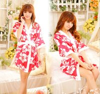 Wholesale Nightgown Band - Sexy Lingerie Kimono Dress + G string + Band Set Sleepwear