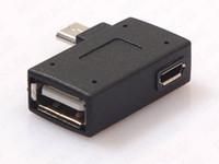 adaptateur micro coudé usb achat en gros de-Adaptateur d'hôte d'hôte de Micro USB OTG d'angle droit gauche avec le port d'alimentation de Micro USB pour le transfert intelligent de données de commande de téléphone portable et de disque dur