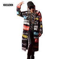 roupa de cantor de desempenho venda por atacado-Atacado- masculino cantor casaco casaco performance de palco roupas homens moda hiphop trincheira outwear carta impresso longo blusão com capuz h4