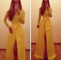 Wholesale Long Sleeve Slit Prom Dress - Trendy Yellow Long sleeves Evening Dresses 2015 Formal Gowns A Line Jewel Yellow Lace and Chiffon Sexy side slit Party Prom Dresses