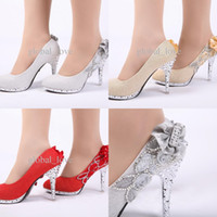 Wholesale Bow Pumps Ankle - Ladies Christmas High Heels Shoes For Women Platform Wedding Shoes Hot Sale Silver Wed Bridal Heel Party Shoe Ladies High Heeled Open Shoes