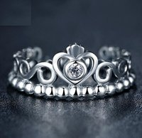 Wholesale European Fashion Style Ring - Fashion Jewelry Ring Women Ring European Pandora Style Charm Ring High-quality 100% 925 Sterling Silver Princess Tiara Ring with Clear