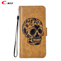Wholesale xperia wallet - Retro Skull Wallet Leather Case For Samsung Galaxy NOTE8 J3 J5 J7 2017 EU J120 Sony Xperia XZ L1 Z981 N9560 Z986 Cartoon Stand Cover 10pcs